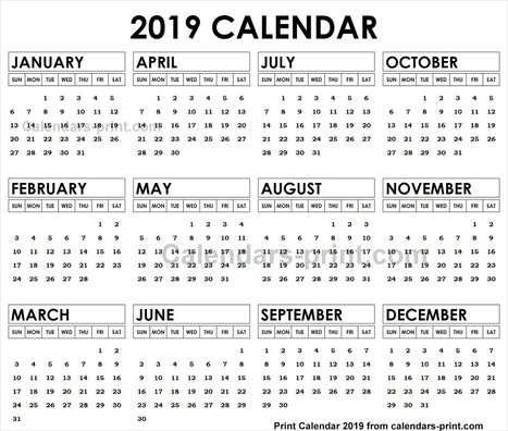 2019 Quarterly Calendar With Holidays In Calendars2print Scoop It