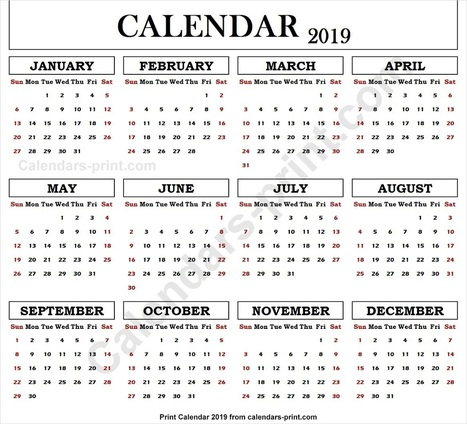 2019 Calendar Editable Template' in calendars2print | Scoop it