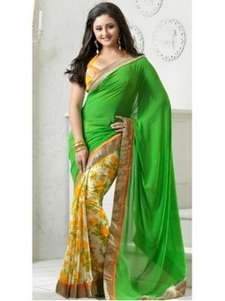 FIA GREEN & CREAM GEORGETTE SAREE-CSSK812- Shop and Buy Online at Best prices in India. | online shopping | Scoop.it
