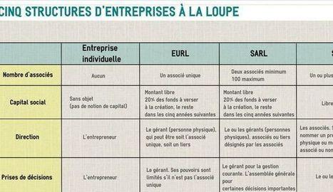 TABLEAU COMPARATIF. Cinq statuts juridiques d'entreprise à la loupe | #Réseaux sociaux et #RH2.0 - #Création d'entreprise- #Recrutement | Scoop.it
