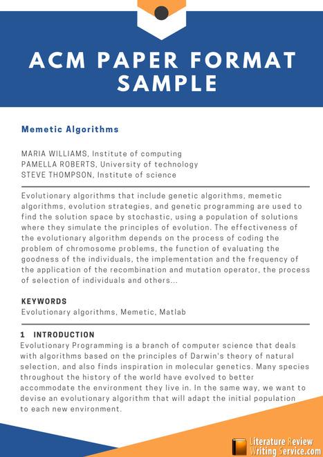Perfect Acm Paper Format Sample Literature Re