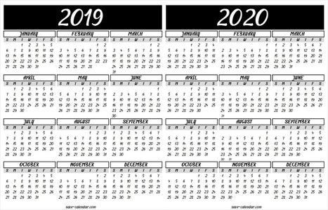 2019 2020 Calendar Printable Template Free Ca