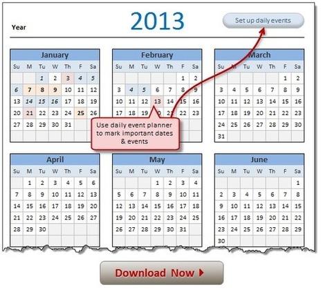2013 Calendar – Excel Template [Downloads]   BM Formation   Scoop.it