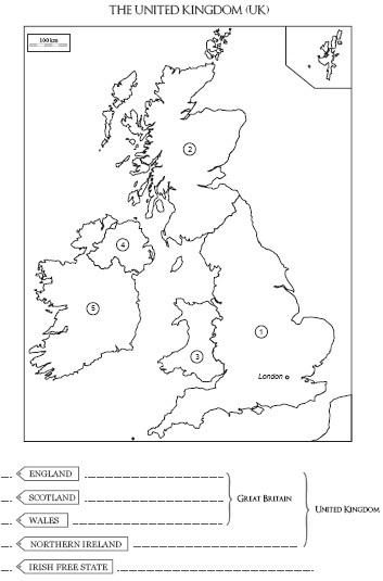 carte du royaume uni à compléter cycle 3 Carte à compléter et à col