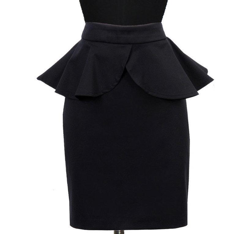Black High Waisted Fitted Peplum Skirt | contac...