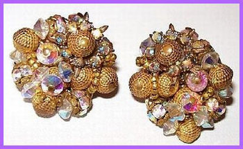 "Vintage Earrings Crystal Gold Beads Signed Alice Caviness Filigree Clip Back Style 1 1/4"" VG 