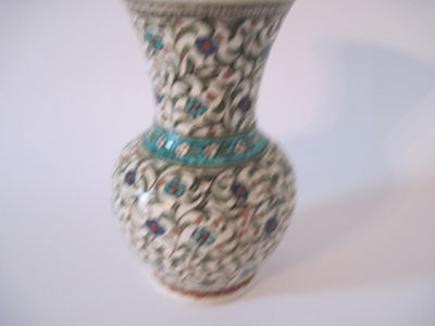 Antique Iznik Pottery Vase With Moorish Design