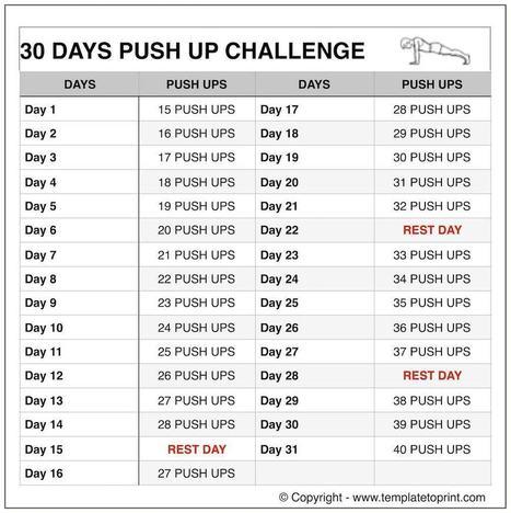 Push ups Workout Routine Chart | 30 Day Pushup