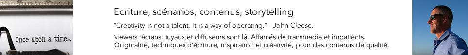 Ecriture, scenario, contenus, storytelling.