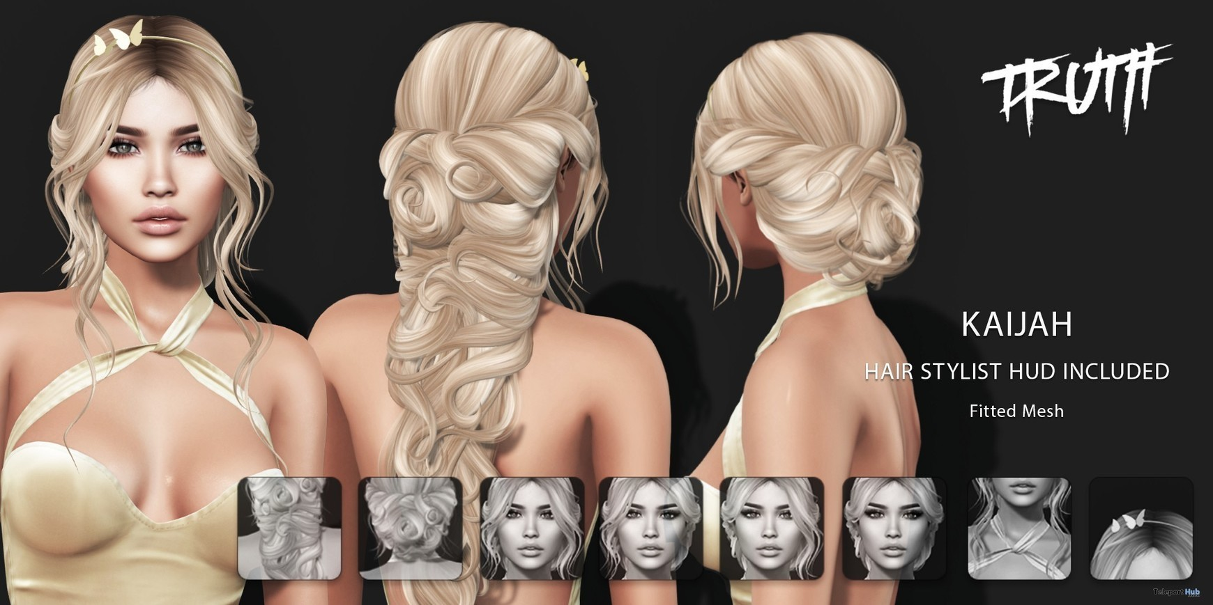 b4ca7f40e6 Kaijah Hair Fatpack With Style HUD Group Gift by TRUTH HAIR