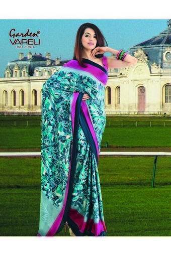 Artistic Blue Crepe Saree Online At Best Garden Silk Mills Limited Get