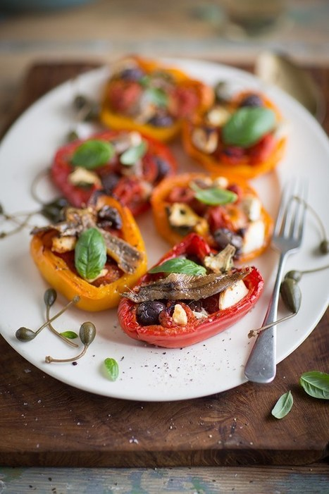 roasted peppers stuffed with cherry tomatoes, feta and olives   Organic Farming   Scoop.it