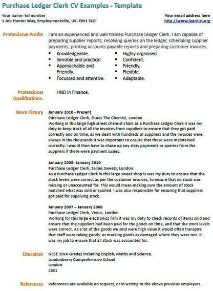 purchase ledger clerk cv example