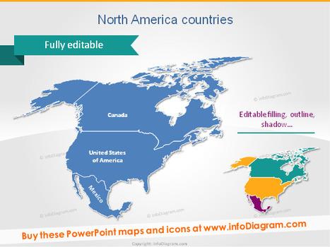 Editable Maps Icons USA Canada Mexico North Ame...
