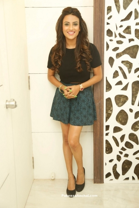 7b7627aa100 Jyothi Seth in Mini Skirt Dress and Black Top at Natural Salon launch