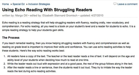 Echo Reading Activities for Helping Struggling Readers | Teaching L2 Reading | Scoop.it