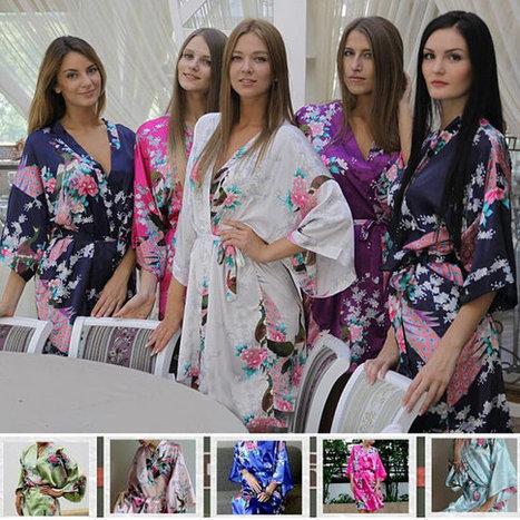 Floral Kimono Satin Bridesmaid Robes bride robe Wedding Gift Bridal Party  Robe blue purple lavender pink white Set of 9 set of 10 Set of 11 c412e54fd