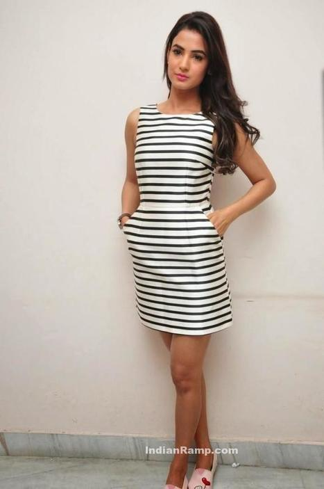 d632ba01feb Sonal Chauhan in Black and White Striped Short Skirt and Pink pumps