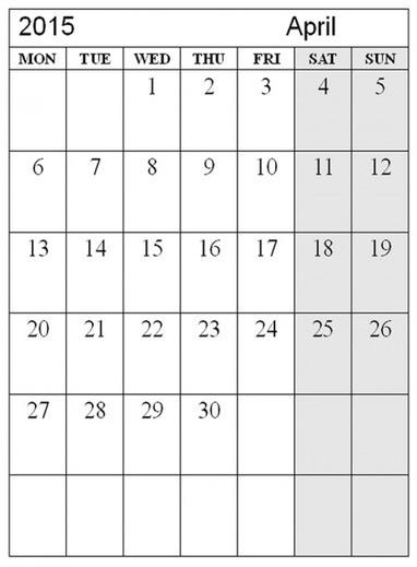 April 2015 Calendar Word Doc Template Excel