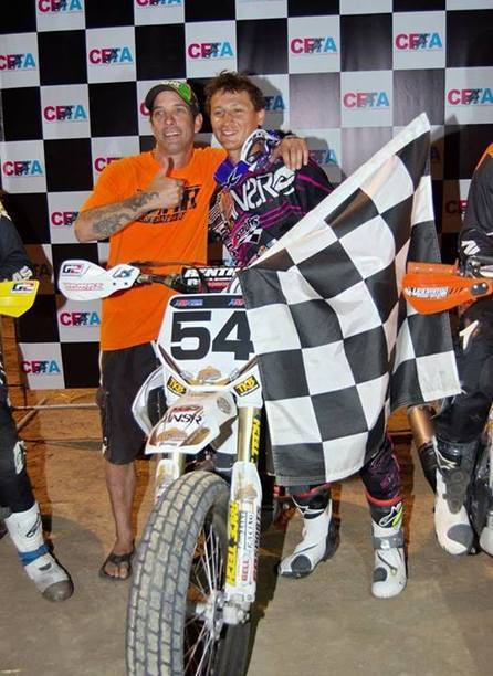 Hopefully non-controversial photo of CFTA Round #3 Pro Bike Winner, Mikey Rush.... | California Flat Track Association (CFTA) | Scoop.it