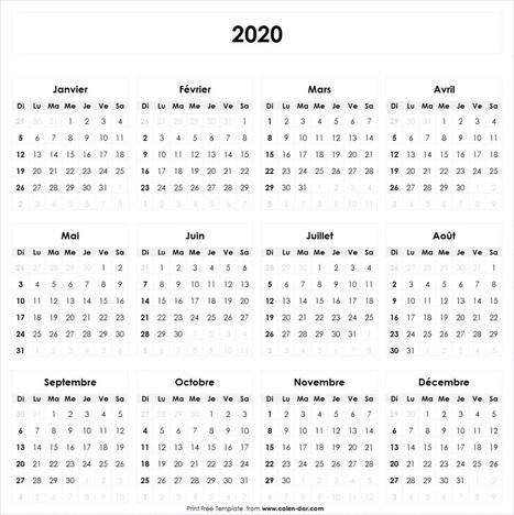 Calendrier 2020 Format Excel.Calendrier 2020 A Imprimer Vacances Ex