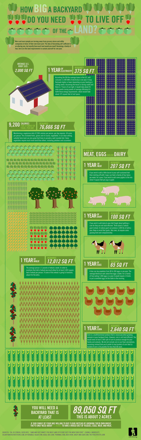 Infographic: How Big a Backyard Would You Need to Live Off the Land? | Feeding the world's people | Scoop.it