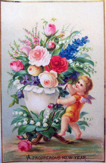 victorian new years postcard of cherub with a the doodle place