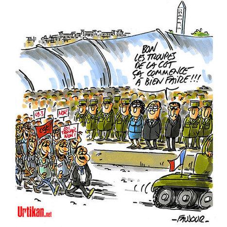 Défilé militaire : le dernier 14 Juillet du quinquennat Hollande | Dessinateurs de presse | Scoop.it