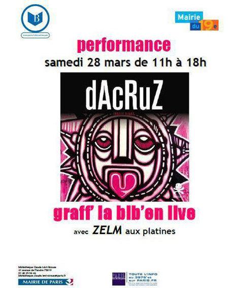 Performance graff  en musique live avec dAcRuZ et Zelm à la bibliothèque  Lévi-Strauss   Paris Est Villages 4c715a42b4c