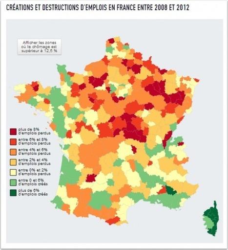 """La carte de France des pertes d'emplois   """"Emplois verts et éco-activités""""   Scoop.it"""