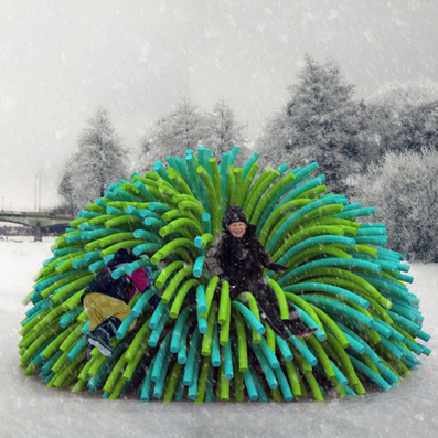 Shelters resembling giant pompoms warm skaters on a frozen river | nature and life lessons | Scoop.it