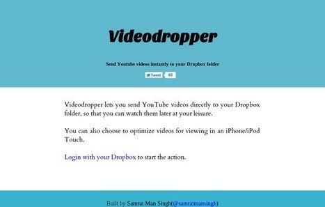 Videodropper, envía instantáneamente vídeos de YouTube a tus carpetas de DropBox   Recull diari   Scoop.it