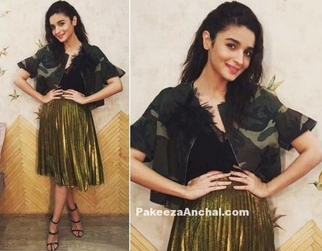 Alia Bhatt in Gold Metallic Pleated Midi Skirt, #ActressInSkirts, #AliaBhatt, #BollywoodActress, #BollywoodDesignerDresses, #CelebrityDresses, #DesignerWear, #KneeLengthSkirt, #MetallicSkirt, #Plea... | Indian Fashion Updates | Scoop.it
