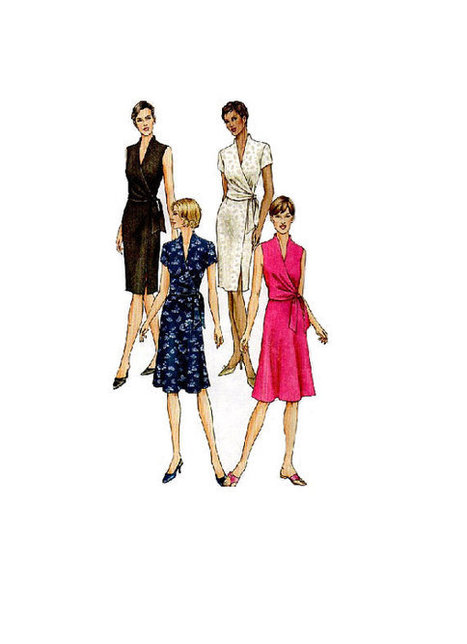 f83b4047dc Vogue 7693 Sewing Pattern Classic Style Wrap Dress Casual Day Business Deep  V Neckline Long Short Sleeves Bust 32