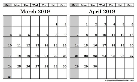 Blank Two Month March April 2019 Calendar