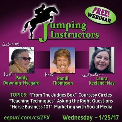 NEW Jumping Instructors Webinar. FREE.  Wednesday January 25th1 | Horse and Rider Awareness | Scoop.it