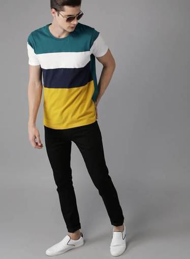 9492c502b893 Jabong- Get Moda Rapido Blue Solid Round Neck T-Shirt at Only Rs. 487