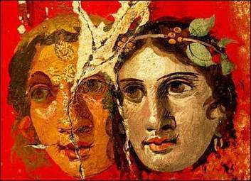 Ancient Roman paintings, Theatrical Woman masks, Pompeii | Archaeology Articles and Books | Scoop.it