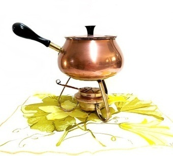 Vintage Copper & Brass Fondue Pot and Chafing Dish Food Warmer 1960s-70s Portugal | Vintage Passion | Scoop.it