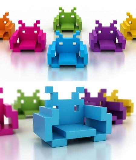 Space Invader Foam Chairs | All Geeks | Scoop.it
