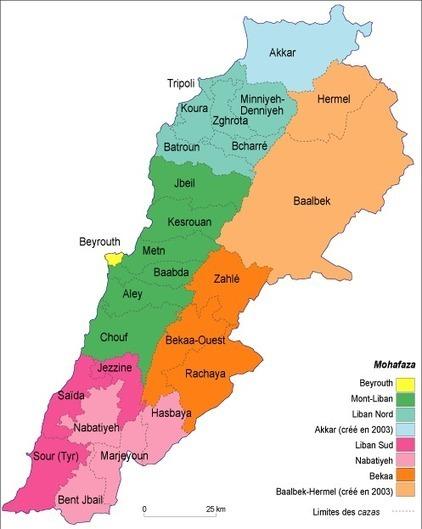 Les territoires du vote au Liban (Mappemonde) |