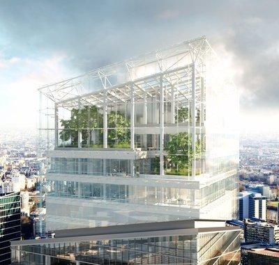valode & pistre design sky-high sculptural tower within la défense district in paris