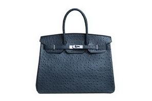 62a3c8595b33 Wholesale Réplique Bleu Hermes Birkin 35CM Sac fourre-tout noir en cuir  d autruche BK - €297.68   réplique sac a main, sac a main pas cher, sac de  marque