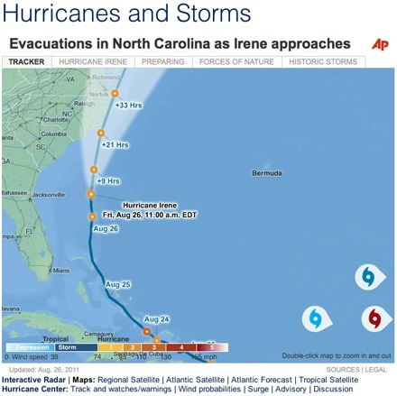 Weather Channel, MSNBC, WCTI top list of most informative Hurricane Irene tracking maps   Poynter.   Mapping NYC hurricane   Scoop.it