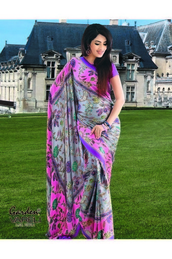 Fl Candy Light Pink Crepe Saree Online India At Best Garden Silk Mills