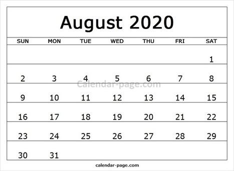 Calendario 2020 Excel Mensual.Printable Calendar 2020 August Excel Calendar