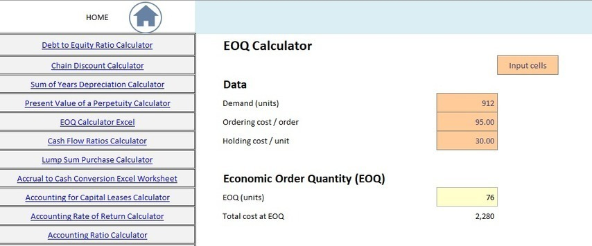 eoq calculator template excel free download e