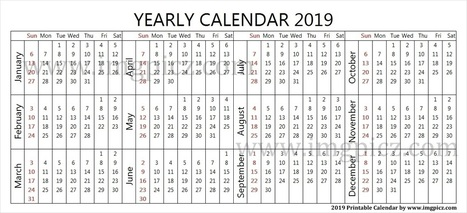 2019 Quarterly Calendar Template Yearly 2019