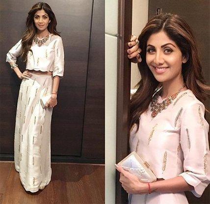 621098379b5c45 Shilpa Shetty in Payal Singhal s White Top   Skirt
