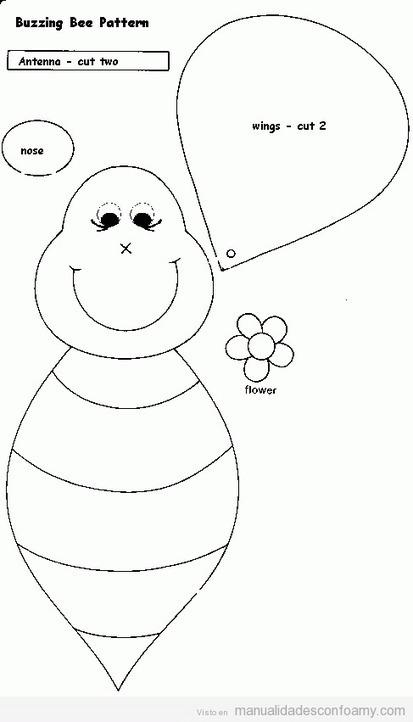 molde para hacer una abeja de goma eva
